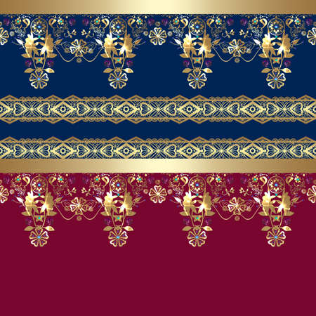 eastern: Golden seamless eastern lace pattern on blue and red background