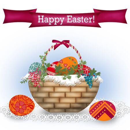 huevos de pascua: Fondo de Pascua con el texto y la cesta con huevos