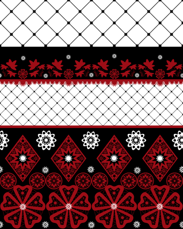 Red and black seamless lace pattern with fishnet on white background Stock Photo