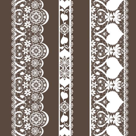 Blanc motif de dentelle transparente sur fond brun