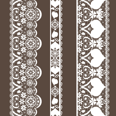 White seamless lace pattern on brown background Stock Photo
