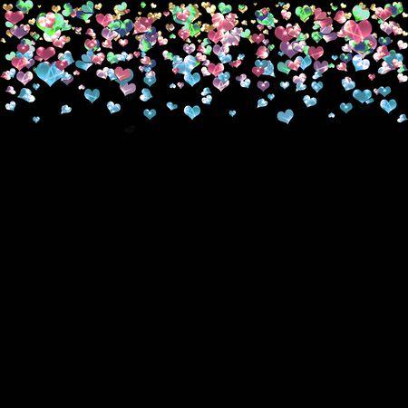 carta de amor: resumen fondo negro d�a de San Valent�n con corazones brillantes confeti