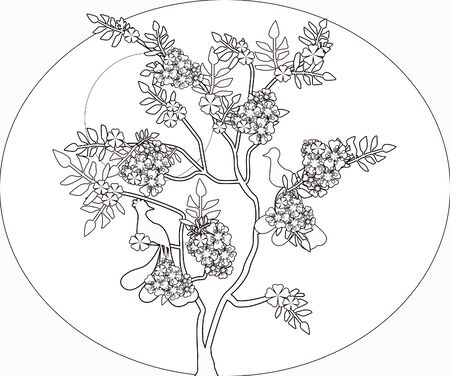 batik: Coloring page book with chinese decorative ornamental abstract tree elements black and white illustration Banque d'images