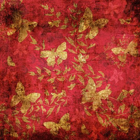 grunge floral: Butterfly on red background floral grunge pattern