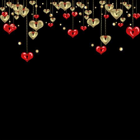 carta de amor: resumen fondo negro d�a de San Valent�n con oro y corazones rojos