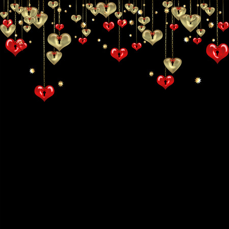 valentine day love beautiful: Valentines day abstract black background with gold and red hearts Stock Photo