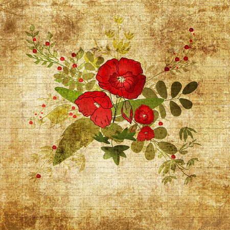 grunge floral: Retro floral grunge background with red poppies