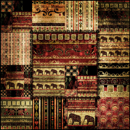 Patchwork african pattern grunge print background