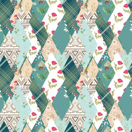 pinstripes: Patchwork floral seamless pattern texture background