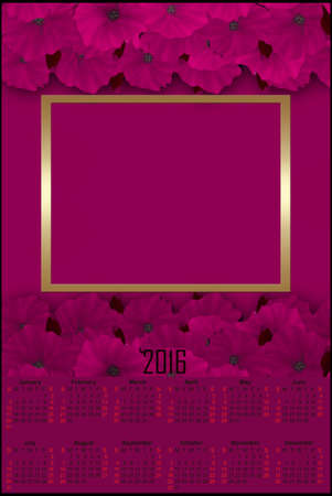 new ages: Illustration calendar for 2016 in retro design with pink poppy and frame Stock Photo
