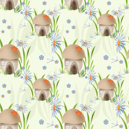 mushroom house: Mushroom house kids seamless pattern background Stock Photo