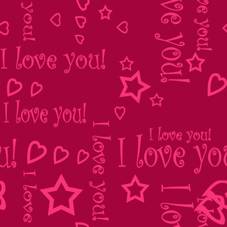 endearment: Seamless pattern wallpaper valentine with hearts and text I love you Stock Photo