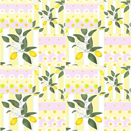 tasteful: Patchwork seamless pattern with lemons and flowers background