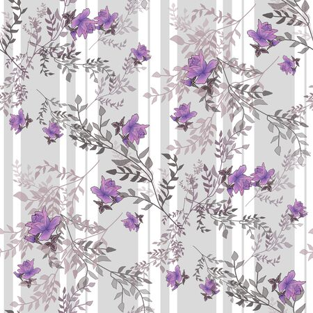 purple roses: Purple roses flowers retro seamless pattern on striped background