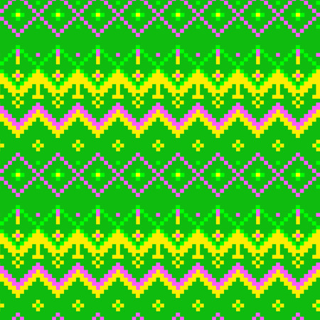 fabric patterns: Pixel modern geometric seamless pattern ornament green background Stock Photo