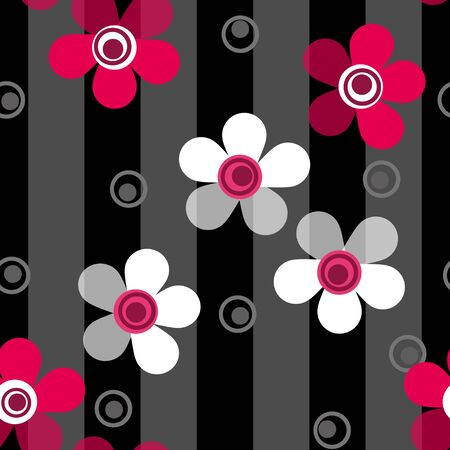 pink and black: Seamless pink flowers pattern on striped grey black background Stock Photo