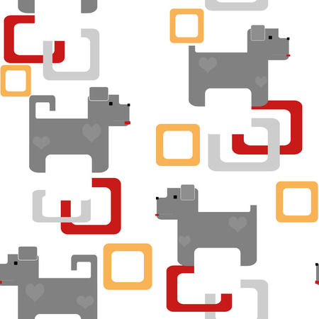 reiteration: Seamless kids pattern texture with pixel dogs and geometric elements on white background