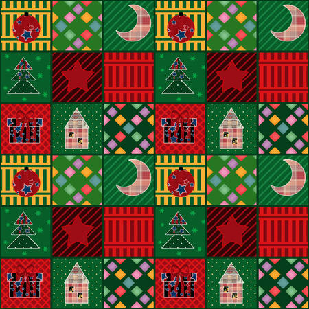 patchwork background: Seamless cozy christmas pattern elements patchwork background Stock Photo