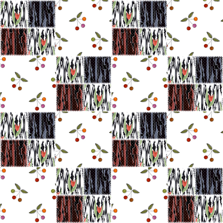 pinstripes: Patchwork squares seamless pattern with cherry texture background Stock Photo