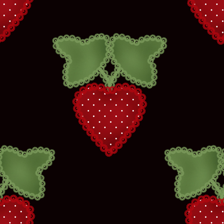 cloth manufacturing: Patchwork strawberry seamless pattern black background Stock Photo