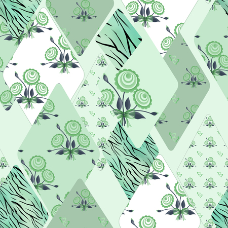 pinstripes: Patchwork wild floral seamless pattern texture background Stock Photo