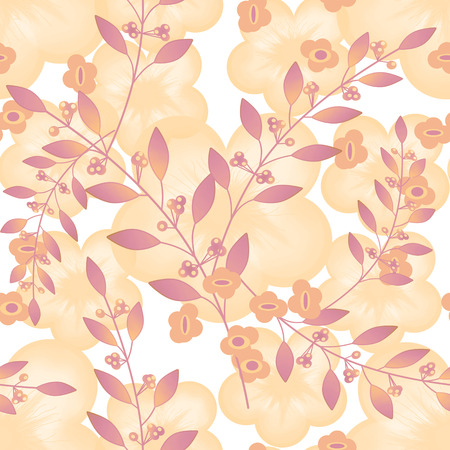 beige background: Seamless floral berry pattern pastel beige background Stock Photo