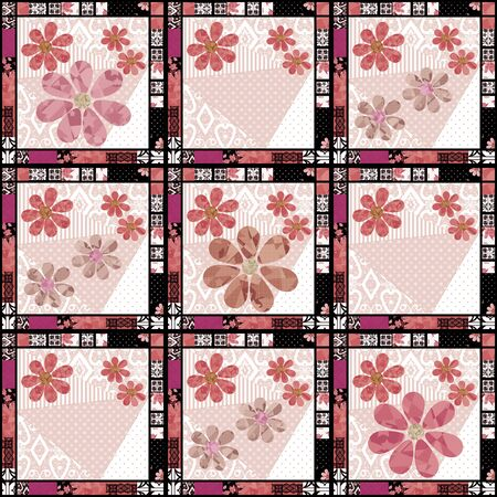soulful: Seamless vintage retro colors floral pattern patchwork design background Stock Photo