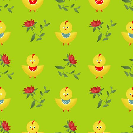 poult: Seamless kids pattern  with chicken texture on green background