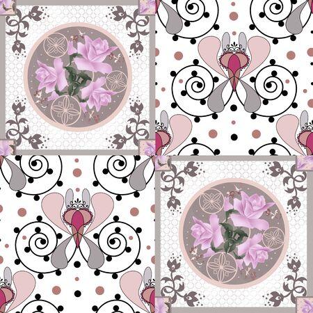 textile texture: Patchwork retro pink flowers floral textile texture pattern background
