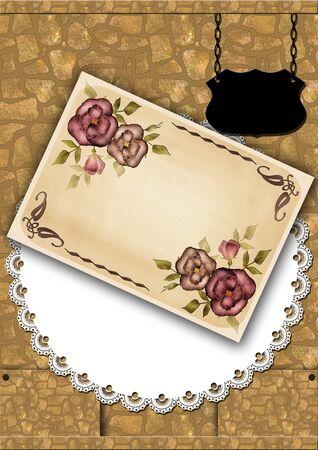postcard design: Vintage postcard for wedding design, invitation, congratulation, scrapbook retro Stock Photo