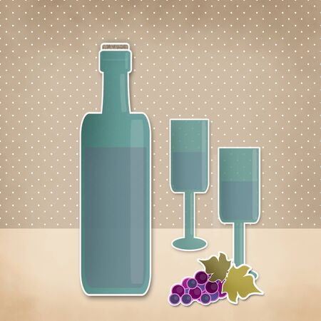 tubule: Bottle of wine, wineglass and grape cartoon background. Retro illustration