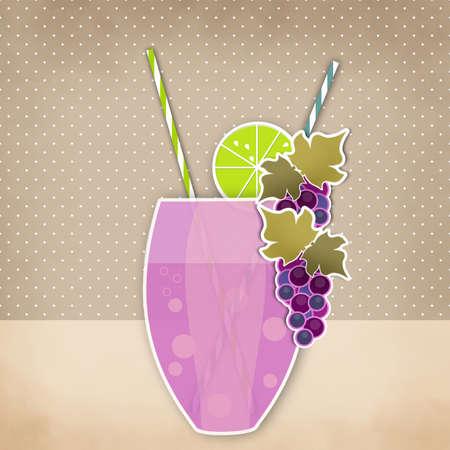 tubule: Cocktail grape background. Glass of drink with tubule. Retro illustration of grape bubble tea or milkshake Stock Photo