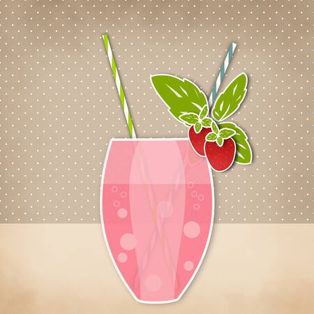 tubule: Cocktail strawberry background. Glass of drink with tubule. Retro illustration of strawberry bubble tea or milkshake.