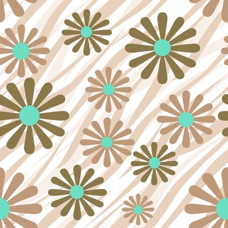 brown skin: Brown flowers on tiger wild skin leather seamless pattern texture background