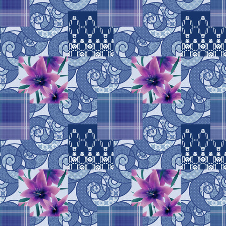 lilly: Patchwork seamless floral purple lilly pattern texture background with decorative elements Stock Photo