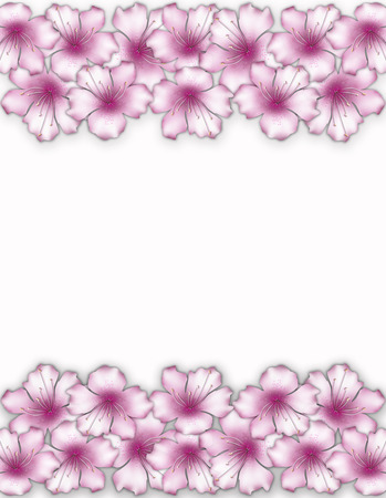 azalea: Flower frame. Floral border. Bouquet of pink azalea on white background.