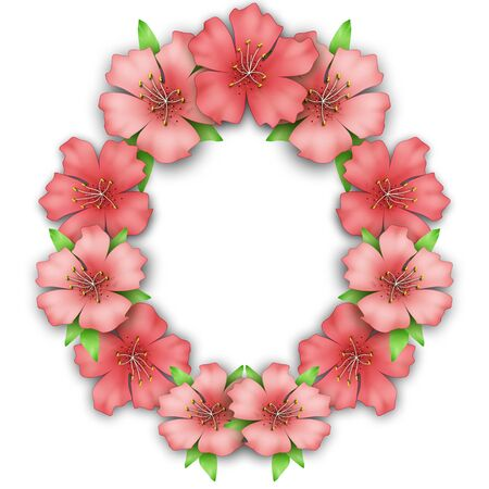 azalea: Flower frame border. Bouquet of pink pastel azalea background