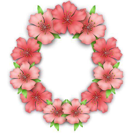 azalea: Flower frame border. Bouquet of pink pastel azalea background