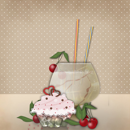 glassful: Drink for party and cake on retro beige background