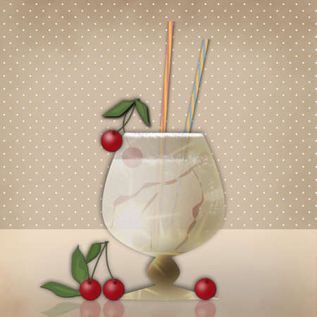 retro party: Drink for party with cherry on retro beige background
