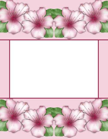 azalea: Flower frame. Floral border. Flowers of pink azalea