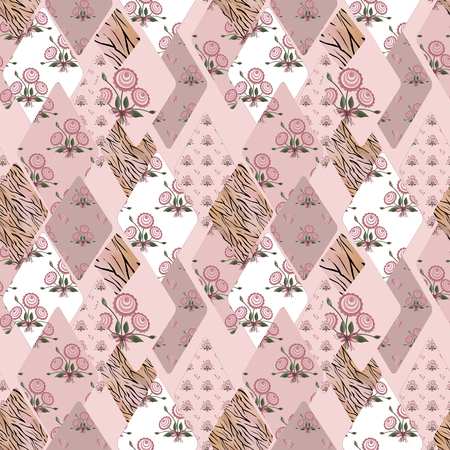 Patchwork pink seamless pattern texture background Stock Photo