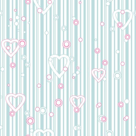 tilling: Seamless pattern with hearts and circles on striped background Stock Photo