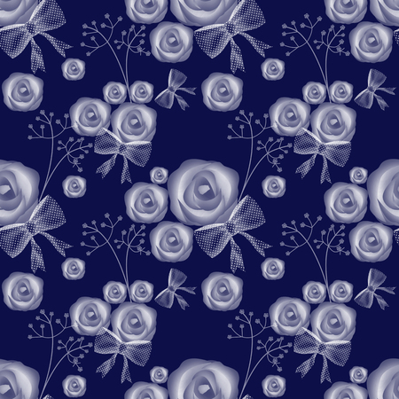 blue roses: Blue roses seamless pattern background on blue