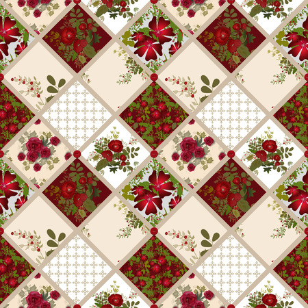 pinstripes: Patchwork seamless pattern texture background with roses and poppies