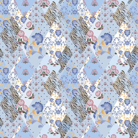 pinstripes: Patchwork seamless pattern texture blue background