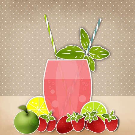 tubule: Cocktail fruits background. Glass of drink with tubule. Retro illustration of bubble tea or milkshake. Stock Photo