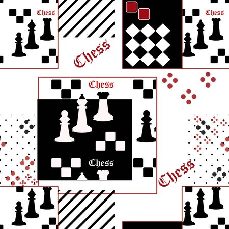 siluette: Seamless pattern with chess black and white