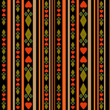 tilling: Seamless pattern with hearts and stripes on black background Stock Photo