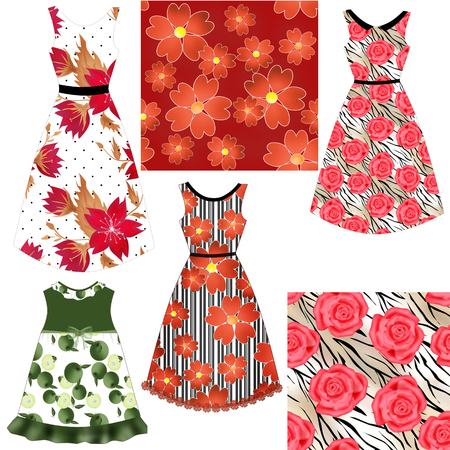 frill: Set of female dresses with beautiful ornaments Stock Photo